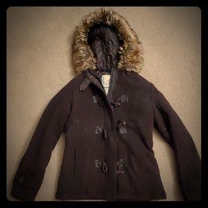 Brown Jacket with Fur Hood